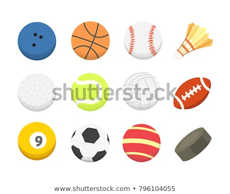 Stok fotoğraf: Set Of Colored Cartoon Sports Ball Icons