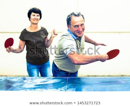 Iki kadın oynama masa tenisi açık havada aile yaz Stok fotoğraf © IS2