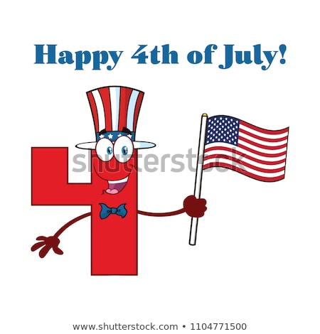 Stock photo: Patriotic Red Number Four Cartoon Mascot Character Wearing A Usa Hat And Waving An American Flag