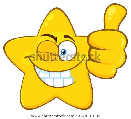 Mosolyog citromsárga csillag rajz arc karakter Stock fotó © hittoon