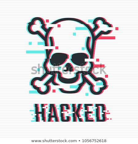 Stock photo: glitch hacker black skull with text