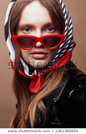 Portré vonzó nő színes fejkendő napszemüveg néz Stock fotó © feedough