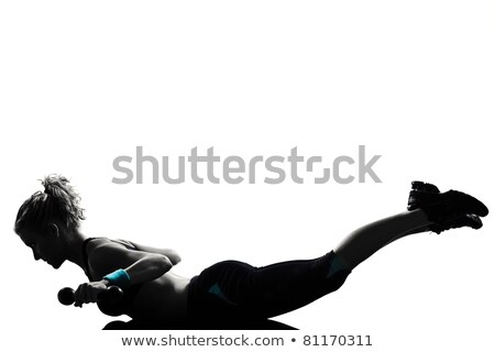 Girl Muscular Pose Body Building Stock photo © lenm