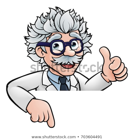 Cartoon Scientist Professor Pointing at Sign Stock photo © Krisdog