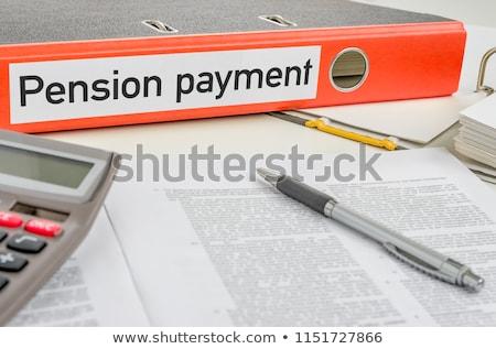 Stock fotó: Narancs · mappa · címke · nyugdíj · fizetés · pénz