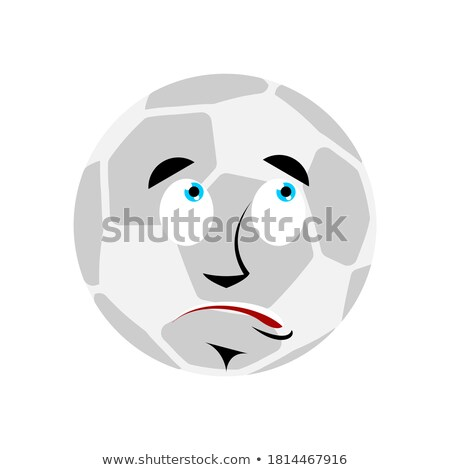 Soccer ball confused oops Emoji. Football Ball perplexed emotion Stock photo © popaukropa