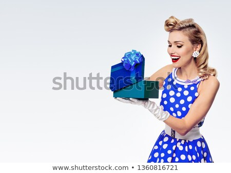 Polka dot clothes ribbon girl text box stock photo © toyotoyo
