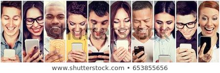 happy people using mobile smart phone stock photo © ichiosea