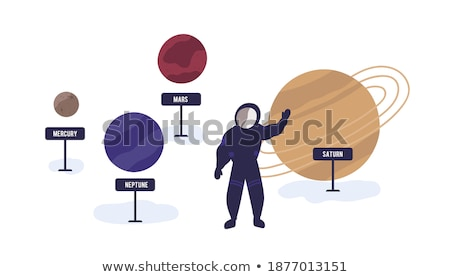 Stock photo: Cartoon Saturn Waving