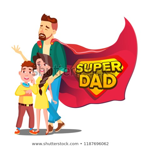 Stok fotoğraf: Super Dad Vector Daddy Like Super Hero With Children Isolated Flat Cartoon Illudtration