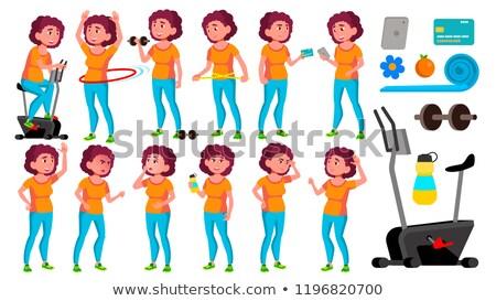 Tłuszczu teen girl zestaw wektora przyjazny cheer Zdjęcia stock © pikepicture