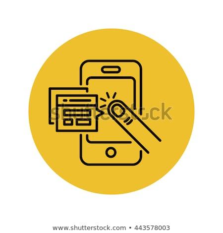 Aplicação ícones comprimido mão queda Foto stock © ra2studio