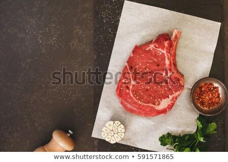 ニンニク 肉 羊皮紙 芳香族の 新鮮な 作品 ストックフォト © dash