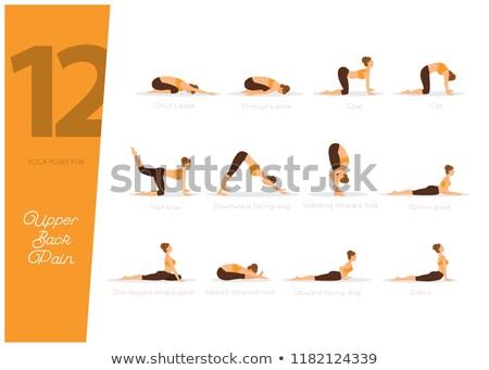 Foto stock: 12 Yoga Poses For Upper Back Pain Vector Illustration