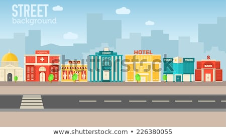 Flat colorful vector sity buildings set. Icon background concept design Stock photo © Linetale