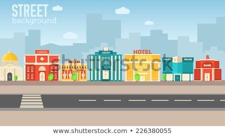 Kleurrijk vector gebouwen ingesteld icon ontwerp Stockfoto © Linetale