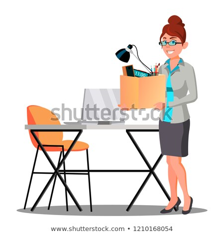 Happy Woman With Box With Things Near Table Getting A New Job Vector. Isolated Illustration Stock photo © pikepicture