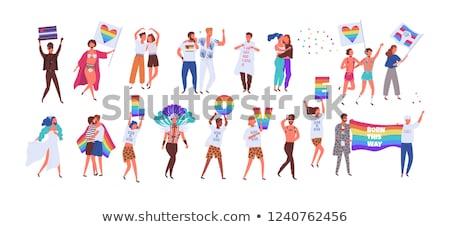 Mannelijke paar homo trots regenboog vlaggen Stockfoto © dolgachov
