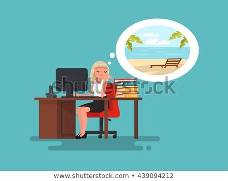 ビジネスマン · 作業 · ノートパソコン · ビーチ · アジア · 小さな - ストックフォト © robuart