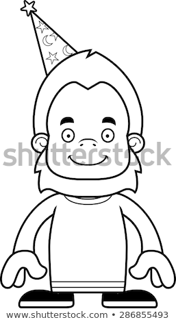 Cartoon Smiling Wizard Sasquatch Stock photo © cthoman