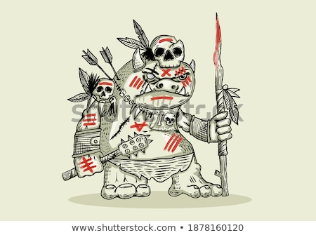cartoon goblin spear stock photo © cthoman
