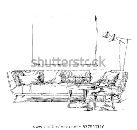 kanepe · yalıtılmış · beyaz · kroki · stil · el - stok fotoğraf © Arkadivna