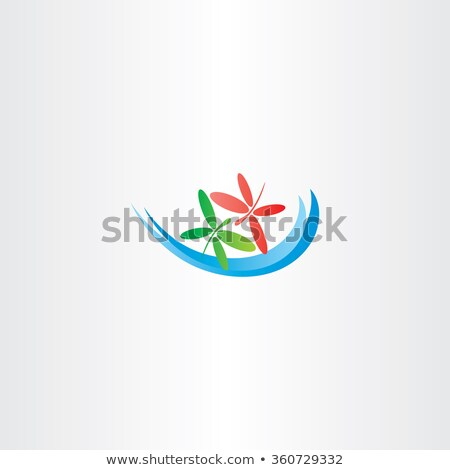 dragonfly in love and water wave vector logo icon Stock photo © blaskorizov