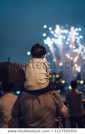 Foto stock: Familia · viendo · fuegos · artificiales · año · nuevo · vacaciones · padres
