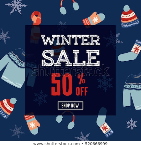 Stock photo: Set of winter clothes flat illustration. Hat, mitten, stocking a