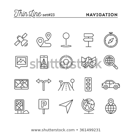 Mobile app icon navigation map and pin symbol. Vector illustrati Stock photo © kyryloff