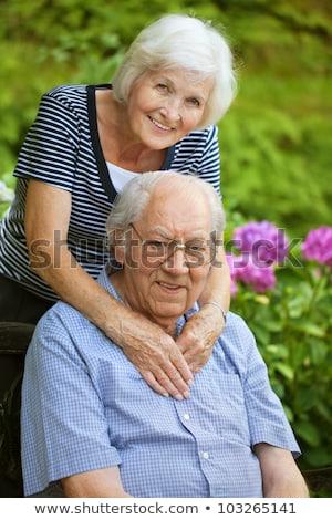 romântico · casal · de · idosos · em · pé · belo · tropical · mar - foto stock © lopolo