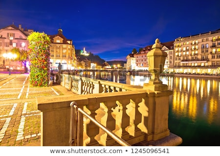 colorful luzern reuss river waterfront evening view stock photo © xbrchx