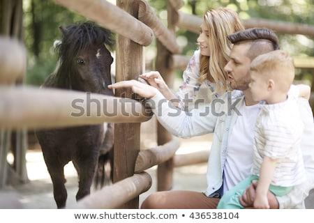 Apa fia állatkert nap család nő baba Stock fotó © galitskaya