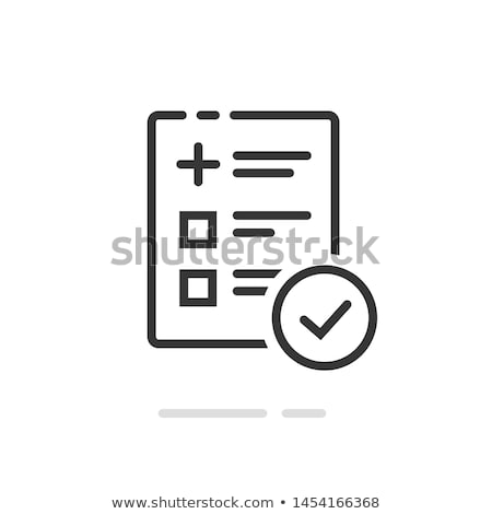 icon of medical form list with results data and approved check mark stock photo © ussr