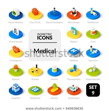 Drugs flat outline isometric icons Stock photo © netkov1