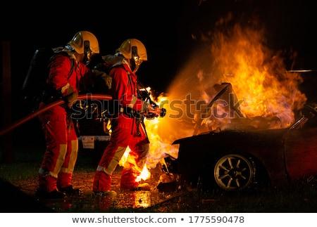 Strażak na zewnątrz ognia ilustracja wody tle Zdjęcia stock © bluering