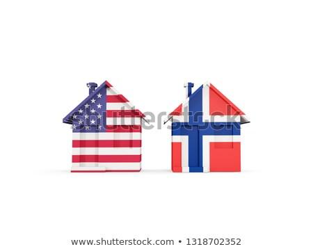 Dois casas bandeiras Estados Unidos Noruega isolado Foto stock © MikhailMishchenko