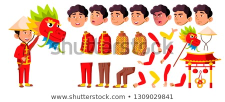 asian boy kindergarten kid vector animation creation set face emotions gestures dragon festival stock photo © pikepicture