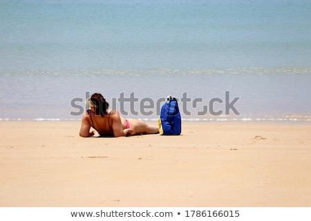 Excesso de peso mulher praia em pé mar água Foto stock © Mikko