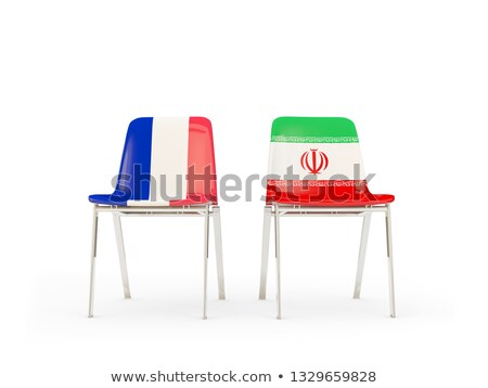 Two chairs with flags of France and iran Stock photo © MikhailMishchenko