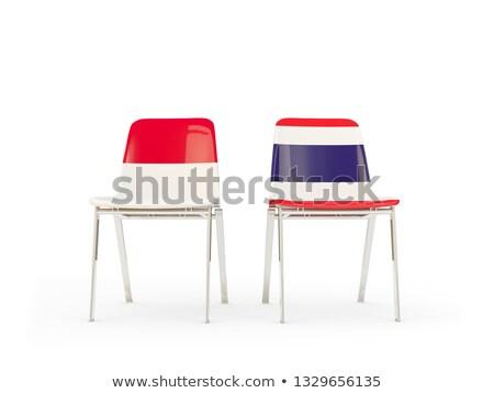 Kettő székek zászlók Indonézia Thaiföld izolált Stock fotó © MikhailMishchenko