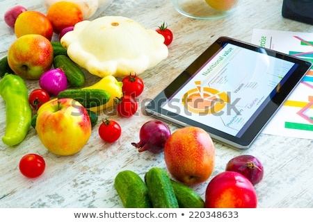 Healthy food composition with tablet Stock photo © ra2studio