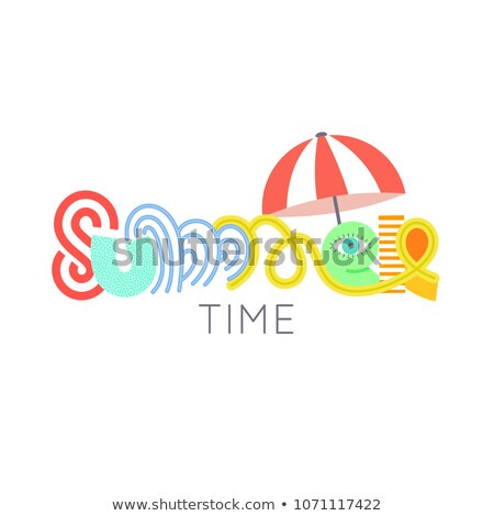 Summertime. Cute hand drawn lettering. Summer. Colorful letters. Doodle. Season of rest and travel.  Stock photo © user_10144511