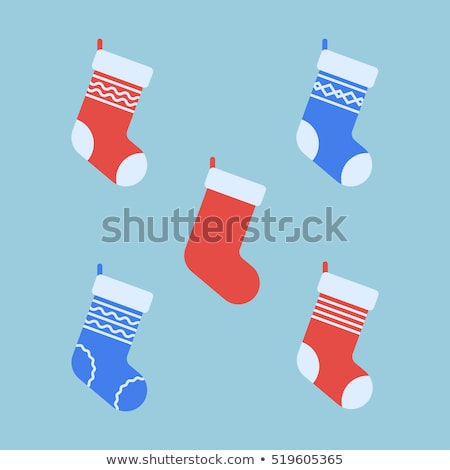 Noël chaussette icône vecteur longtemps ombre Photo stock © smoki