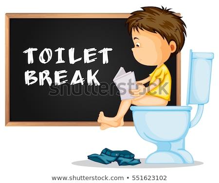 Banheiro quebrar menino leitura documentos ilustração Foto stock © colematt