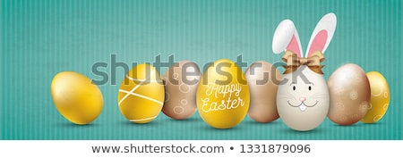 Golden Easter Eggs Hare Paper Green Ribbon Header Stock photo © limbi007