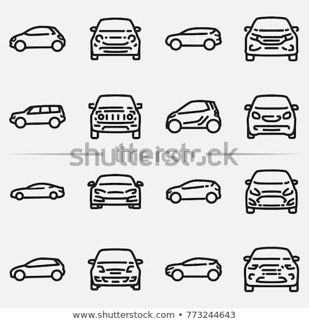 Sedan araba ikon görmek siyah beyaz Stok fotoğraf © angelp