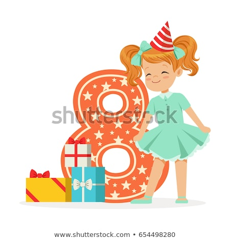 Happy birthday card for eight year old Stock photo © colematt