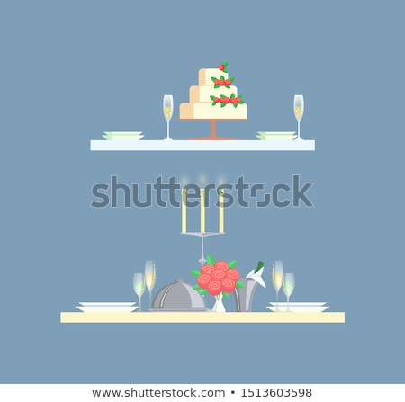 table served plates glasses wedding cake vector stock photo © robuart