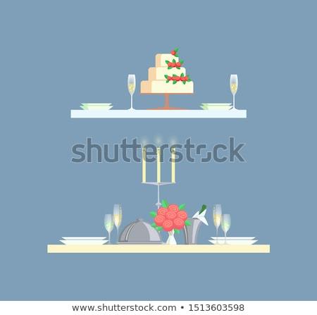 Table Served Plates, Glasses Wedding Cake Vector Stock fotó © robuart